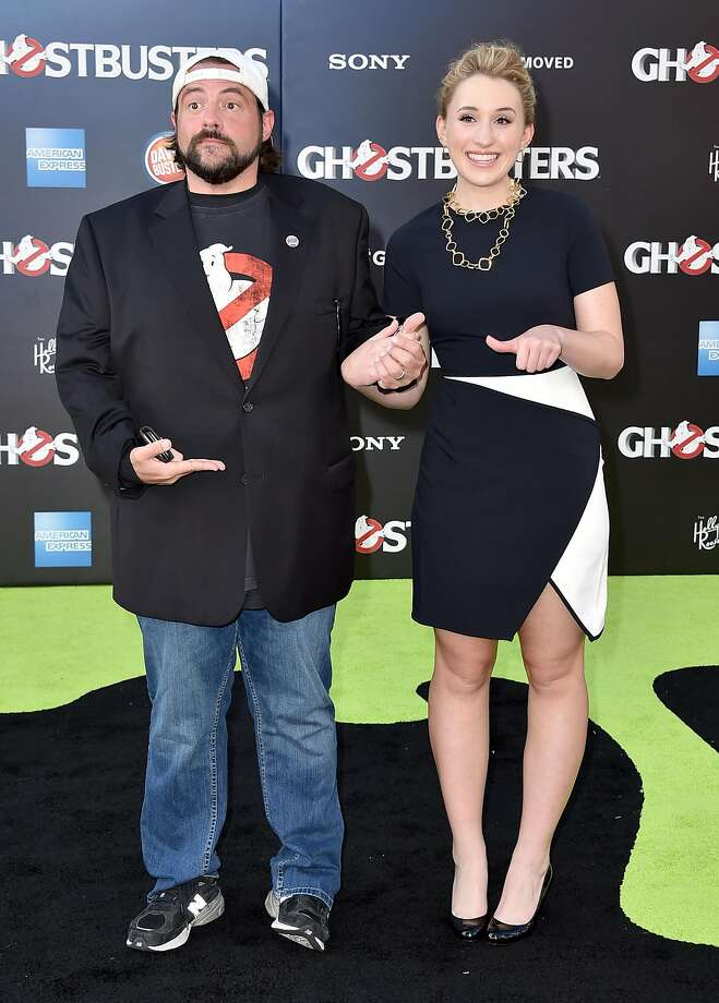 """Kevin Smith, left, and Harley Quinn Smith arrive at the Los Angeles premiere of """"Ghostbusters"""" at the TCL Chinese Theatre on Saturday, July 9, 2016. (Photo by Jordan Strauss/Invision/AP) Photo: Jordan Strauss, Associated Press"""