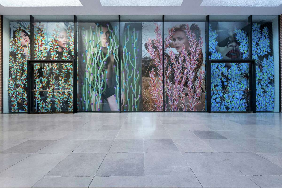 """Rice University Gallery commissioned Michael De Feo's 2016 mural """"Crosstown Traffic,"""" which covers the windows of the Sewell Hall space while it is closed for the summer."""