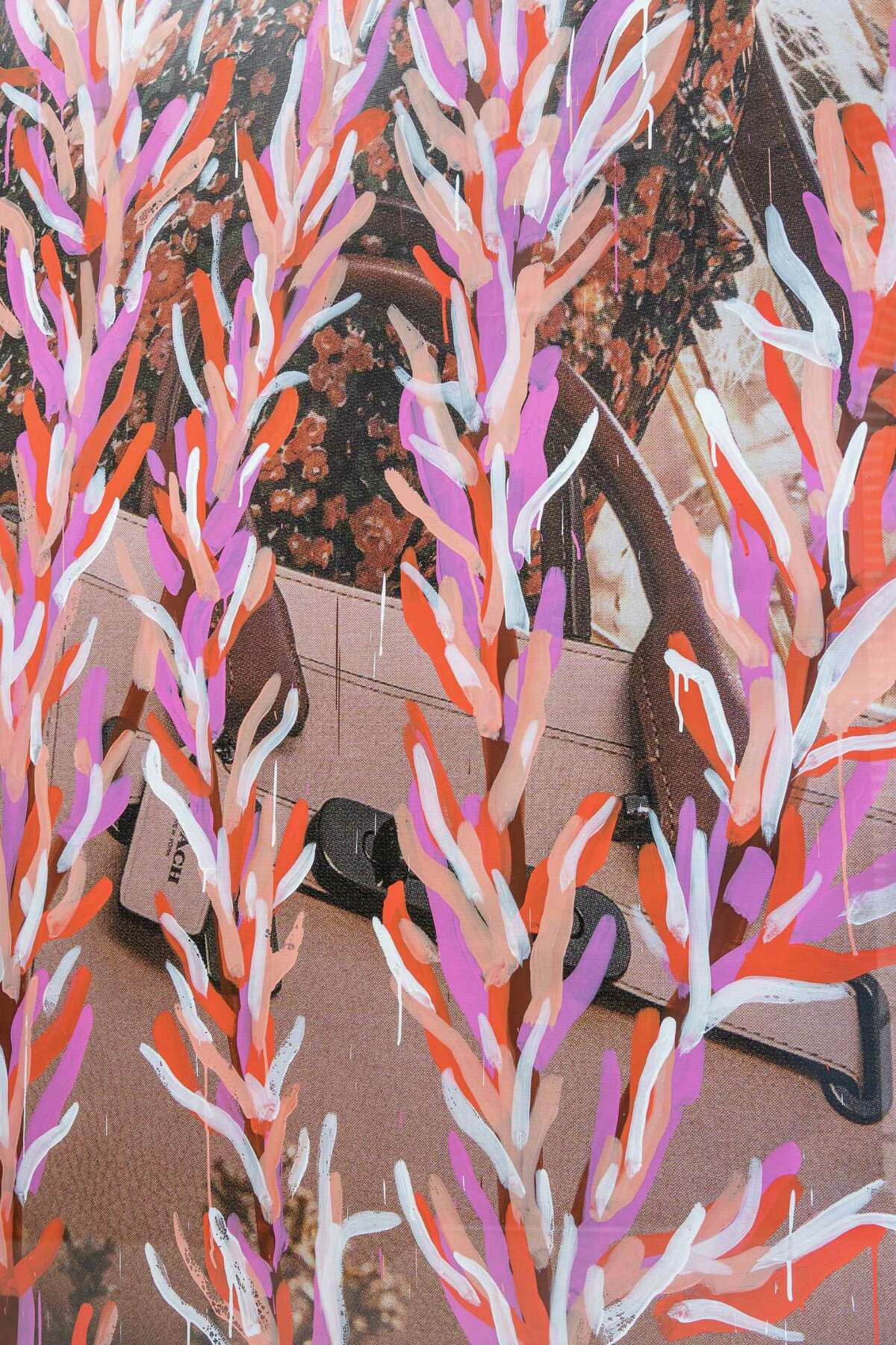 """A detail of Michael De Feo's """"Crosstown Traffic"""" mural, commissioned in 2016 by Rice Gallery."""