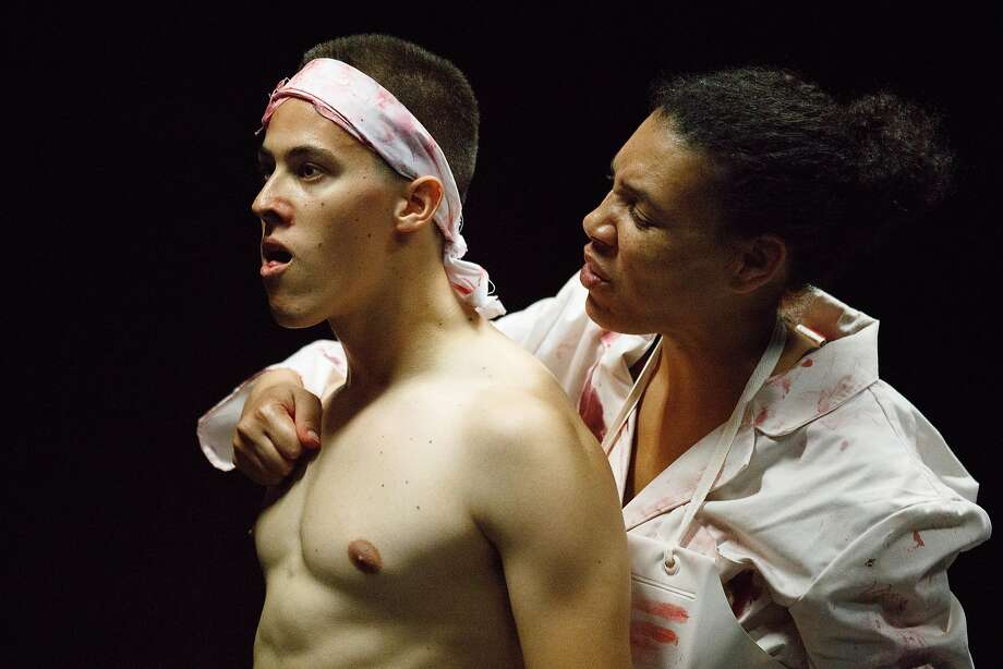 """Louis McWilliams and Leontyne Mbele-Mbong in """"Slaughter City."""" Photo: Frank Chen, Stanford Repertory Theater"""