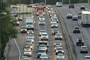 Traffic moves along Interstate 95 through Stamford.