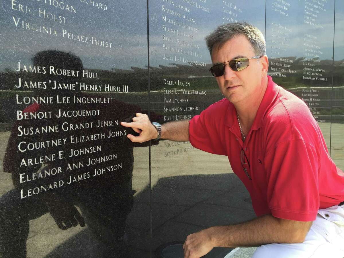 """Greenwich native Mark Berry, shown here at the 19th anniversary memorial on Long Island in 2015, has written a memoir dealing with the loss of his fiance on TWA Flight 800, """"13,760 Feet."""" He will be speaking at the Cos Cobber at 8 p.m. Saturday in memory of the 20th anniversary."""