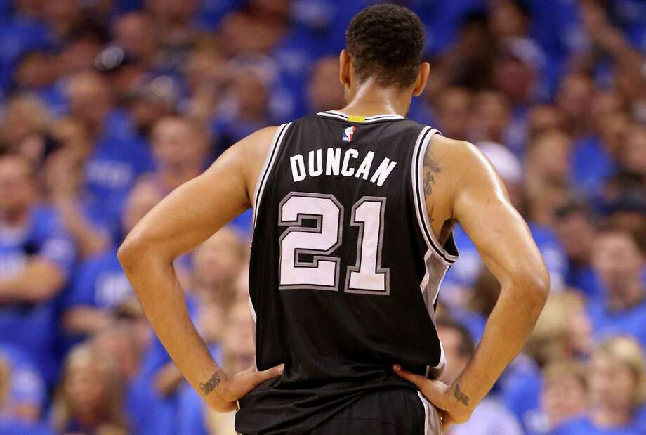 Spurs' Tim Duncan pauses during first half action of Game 6 in the Western Conference semifinals against the Oklahoma City Thunder on May 12, 2016 at Chesapeake Energy Arena. Photo: Edward A. Ornelas /San Antonio Express-News / © 2016 San Antonio Express-News