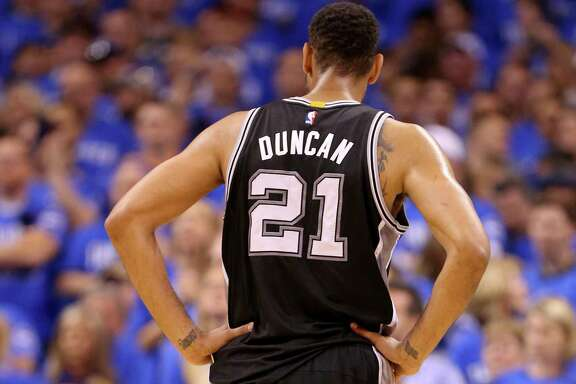 Spurs' Tim Duncan pauses during first half action of Game 6 in the Western Conference semifinals against the Oklahoma City Thunder on May 12, 2016 at Chesapeake Energy Arena.