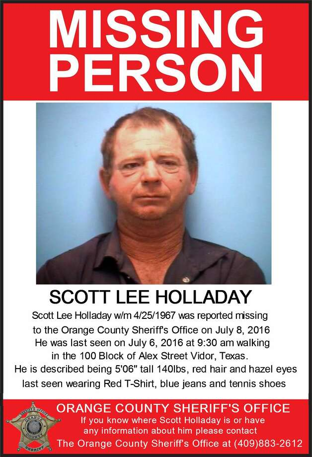 Scott Lee Holladay, 49, was reported missing on July 8. He was last seen two days earlier in Vidor. Photo: Orange County Sheriffs Office