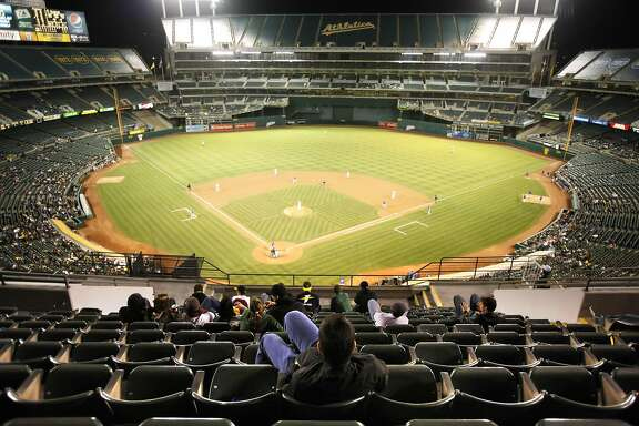In years past, A's management reduced the size of the coliseum by placing tarps over the seats in the third level except for a small section behind home plate. The A's attendance is abysmal as illustrated by the lack of fans at the game against the Texas Rangers. The Oakland Athletics played the Texas Rangers at the Oakland-Alameda County Coliseum in Oakland, Calif., on Monday, May 3, 2010. The Rangers won 4-2.