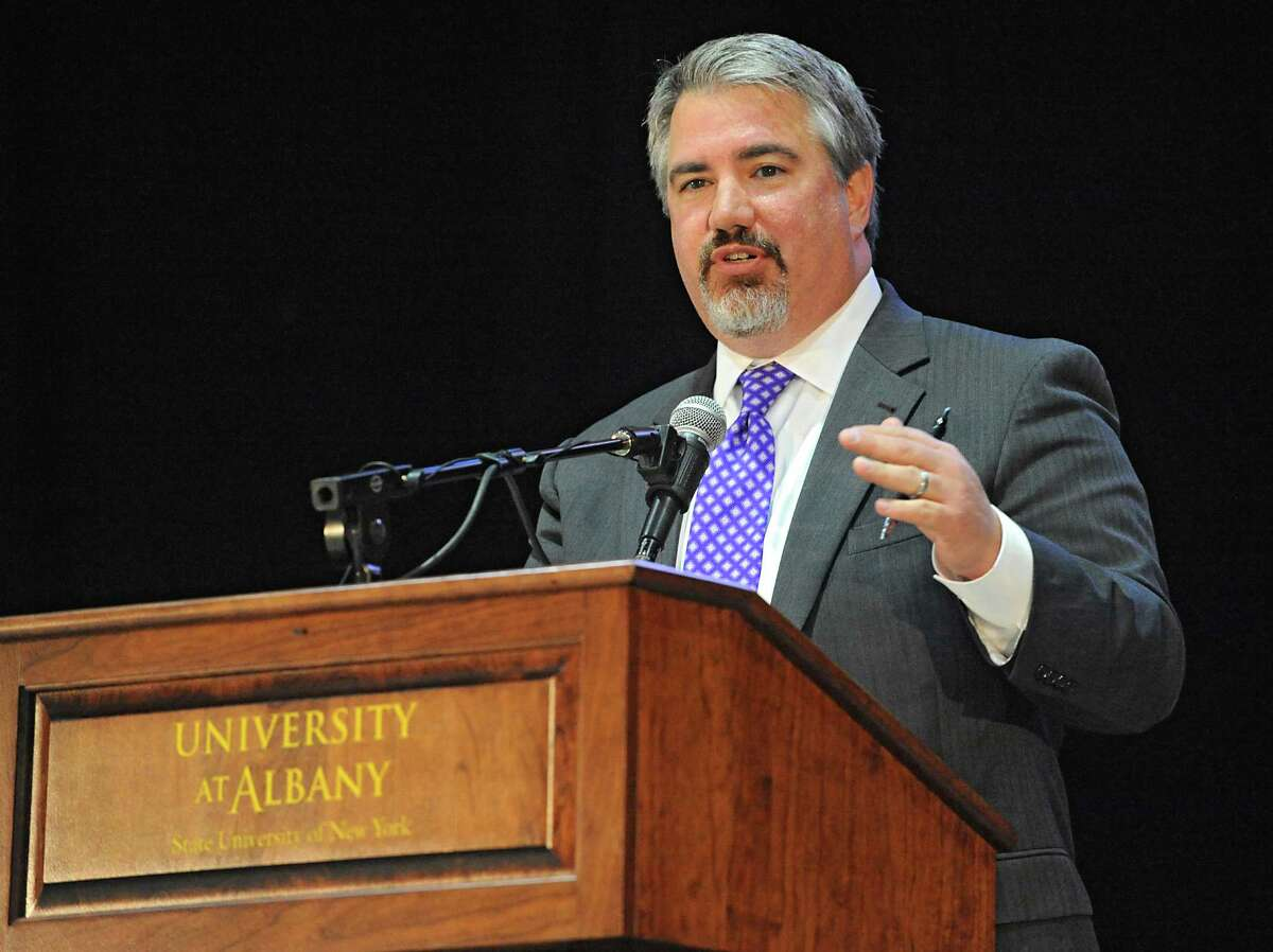 University at Albany Athletic Director Mark Benson speaks before announcing Joanna Bernabei-McNamee as the new women's basketball coach for UAlbany on Friday, April 22, 2016 in Albany, N.Y. (Lori Van Buren / Times Union)