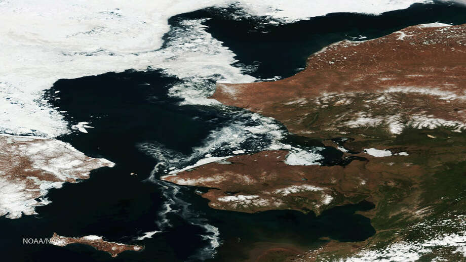 This image from the NOAA/NASA Suomi NPP satellite on May 30, 2016, highlights the Arctic ice retreat off the northwest coast of Alaska. According to the National Snow and Ice Data Center, the average Arctic sea ice extent set a new record that month, becoming the lowest extent for May since satellite observations began.