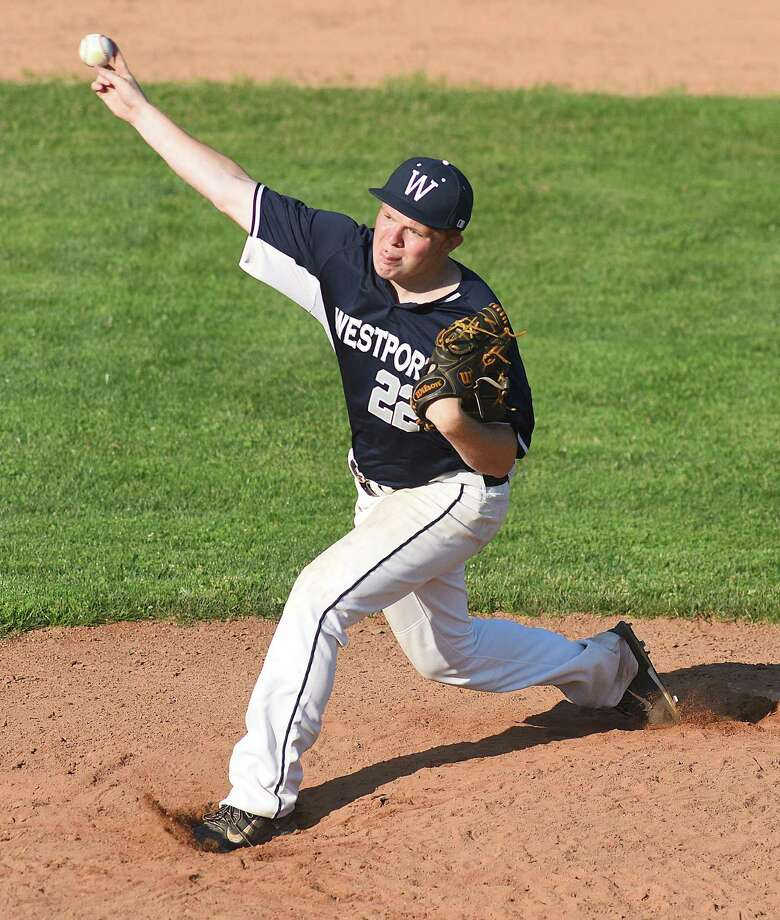 Westport pitcher Danny Ewart fires to the plate during Wednesday's regular season finale against Norwalk Post 12 at Staples High School. Ewart fired a five-inning complete game in Westport's 15-5 win over Norwalk. Photo: John Nash / Norwalk Hour