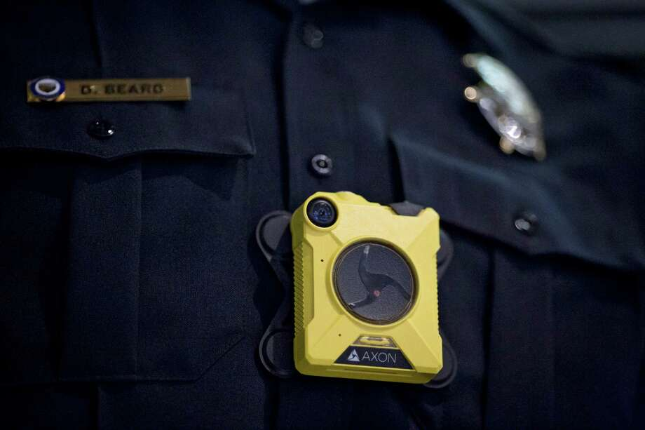 The Axon Body 2 camera on a mannequin at Taser International headquarters in Scottsdale, Ariz., July 8, 2016. Taser International, best known for making Taser stun guns, controls about three-quarters of the body camera business in the U.S. (Caitlin O'Hara/The New York Times) Photo: CAITLIN O'HARA, STR / NYTNS