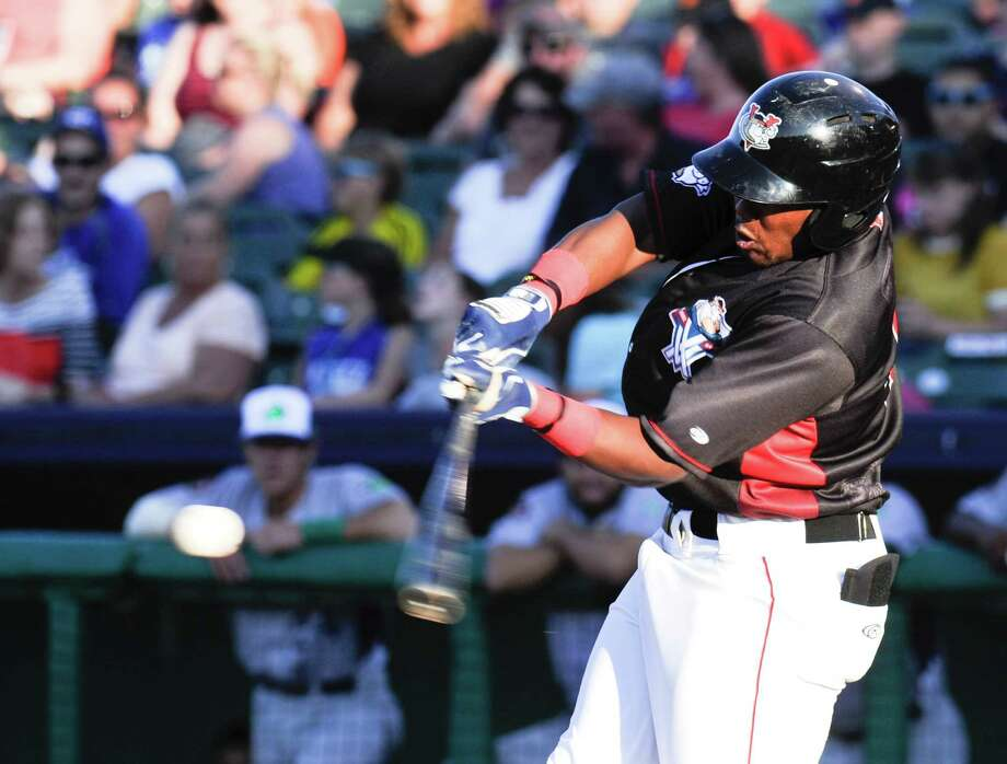 Tri-City ValleyCats' Ronnie Dawson (44) fouls off his hit against the Vermont Lake Monsters during a minor league baseball game on Friday, June 24, 2016, in Troy, N.Y. (Hans Pennink / Special to the Times Union)  ORG XMIT: HP105 Photo: Hans Pennink / Hans Pennink