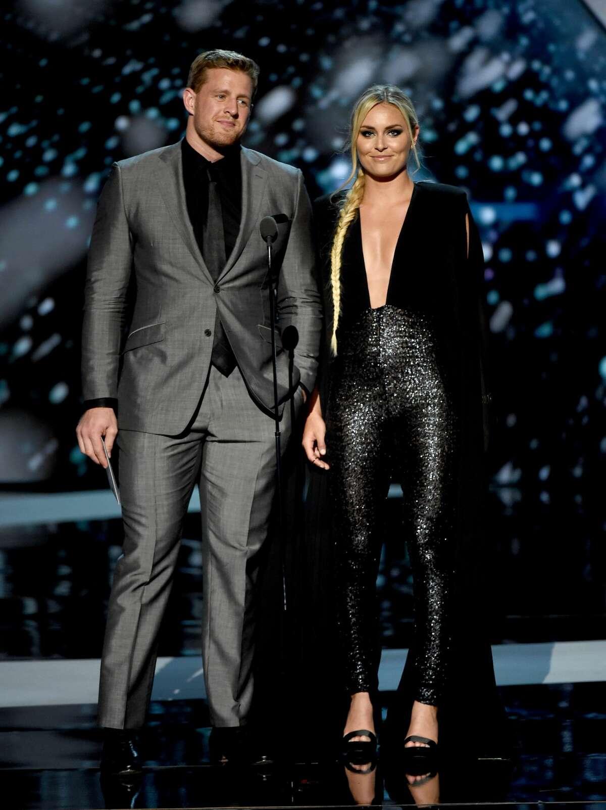 Best: J.J. Watt and Lindsey Vonn achieve the highest level of gleaming fashion. Vonn's slinky bodysuit turns her into an athletic, glamorous vampire woman.