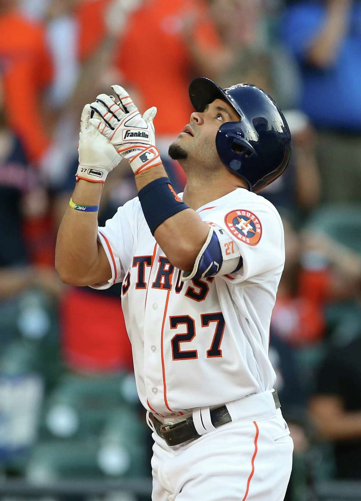Houston Astros second baseman Jose Altuve (27) reacts as he crosses home plate after hitting a home run in the first inning. Photos of game one between Houston Astros and Seattle Mariners at Minute Maid Stadium on Thursday, May 5, 2016, in Houston. ( Elizabeth Conley / Houston Chronicle )