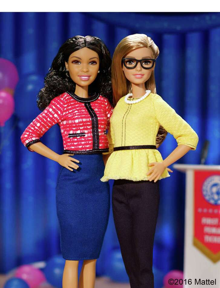 To inspire girls to become leaders, Barbie, right, is running for president, this time with a running mate.