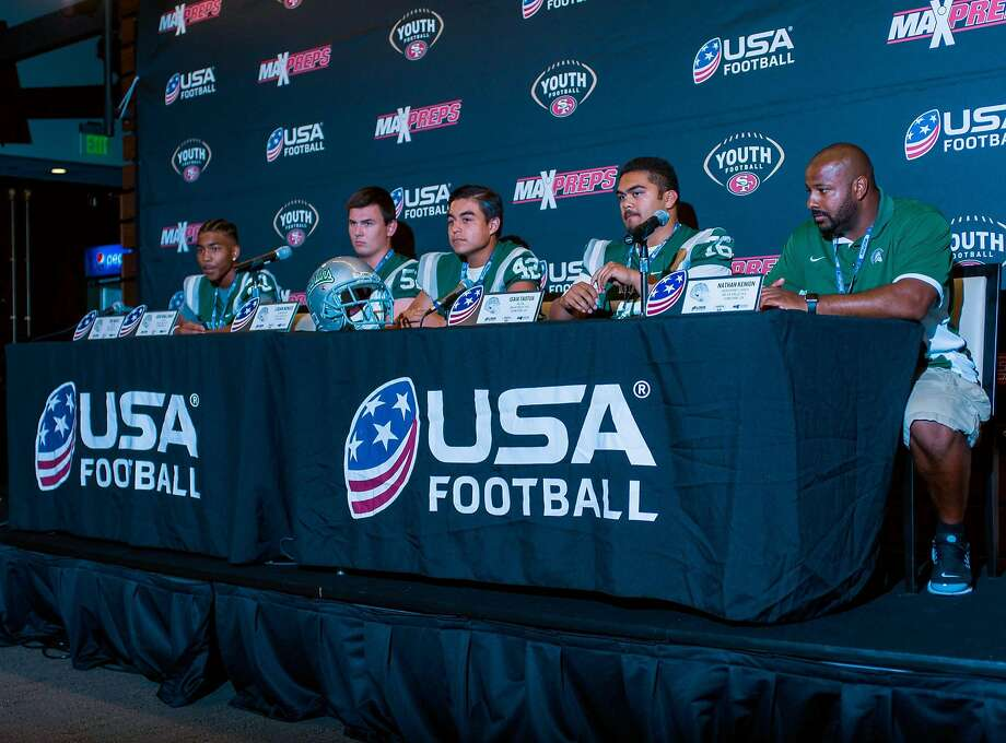 De La Salle (green team) at press conference from left to right Tre White, Josh Wallanus, Logan Nonies, Isia Taotua, assistant coach Nathan Kenion. Photo: Sam Stringer