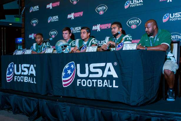 De La Salle (green team) at press conference from left to right Tre White, Josh Wallanus, Logan Nonies, Isia Taotua, assistant coach Nathan Kenion.