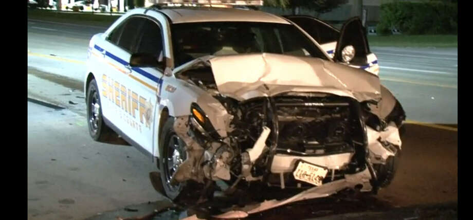 A deputy was injured   in a traffic crash about 10:20 p.m. Wednesday, July 13, 2016, in the 11500 block of FM 1960 East in northeast Harris County. (Metro Video)