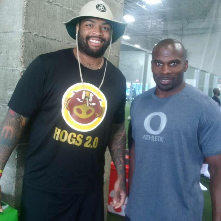 Pro Bowl offensive tackle Trent Williams and trainer and O Athletik partner James Cooper at a Hogs 2.0 workout in Houston. Photo: Aaron Wilson
