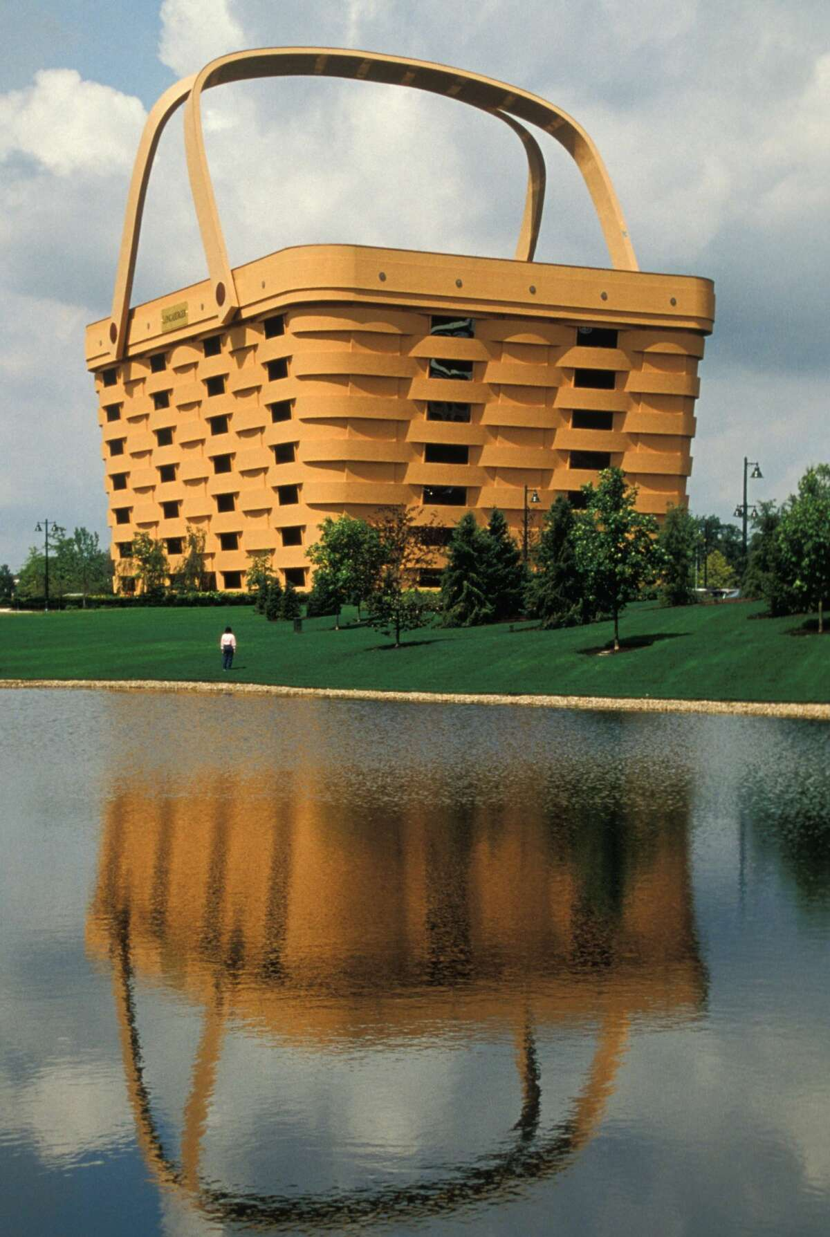 Here's another view of the seven-story headquarters of the Longaberger Company in Newark, Ohio. (Photo by: Jeff Greenberg/UIG via Getty Images)