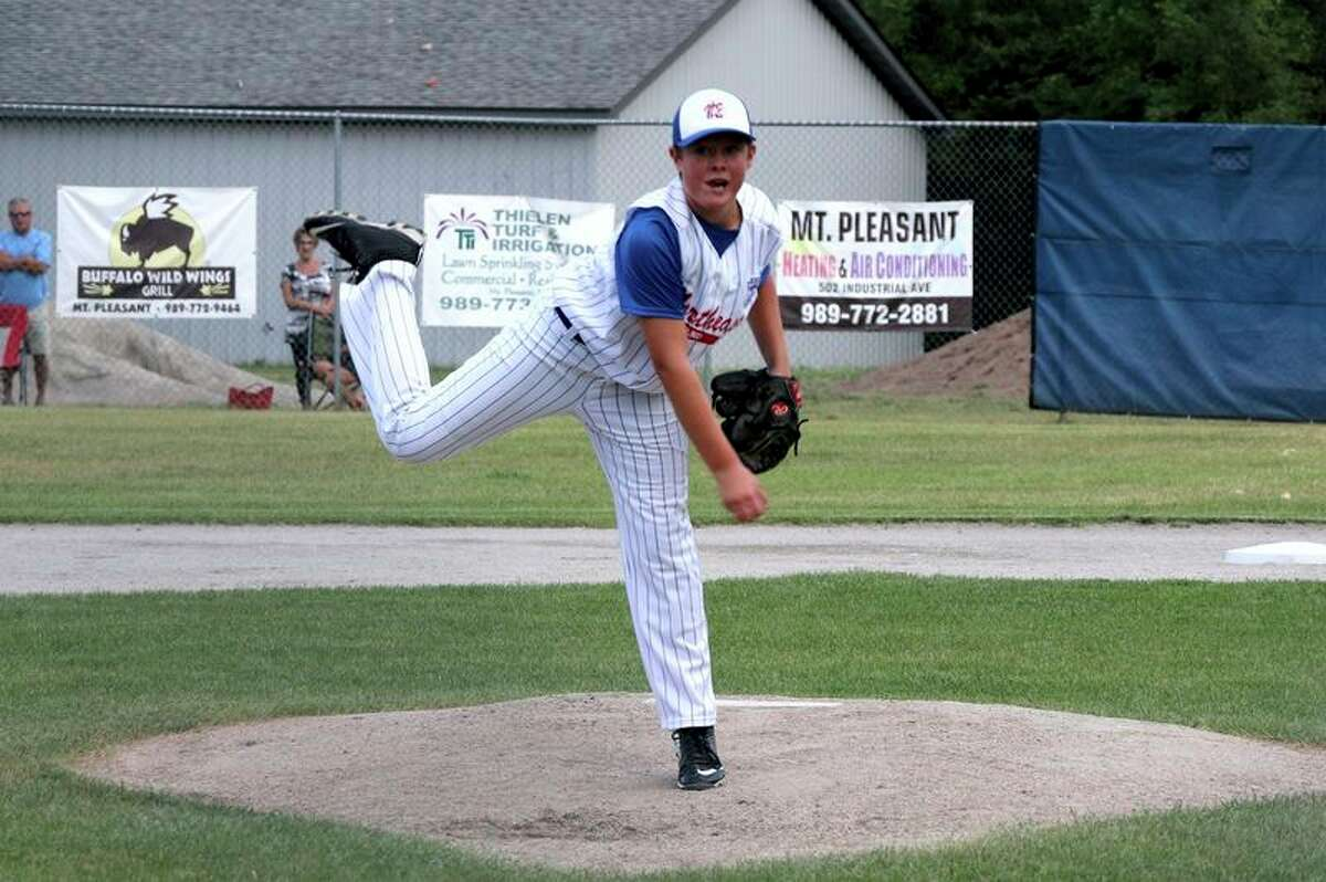 Photo credit/Joe Chritz Midland Northeast pitcher Drew Barrie delivers a pitch in the first inning.