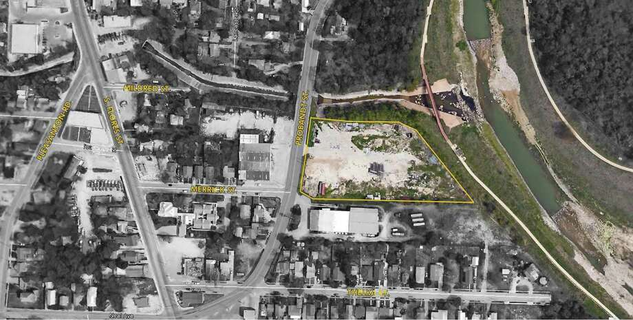 A satellite image shows the site of the planned Public Works Department administrative office at 1948 Probandt Avenue, overlooking the Mission Reach of the San Antonio River. Photo: Courtesy Of Bexar County