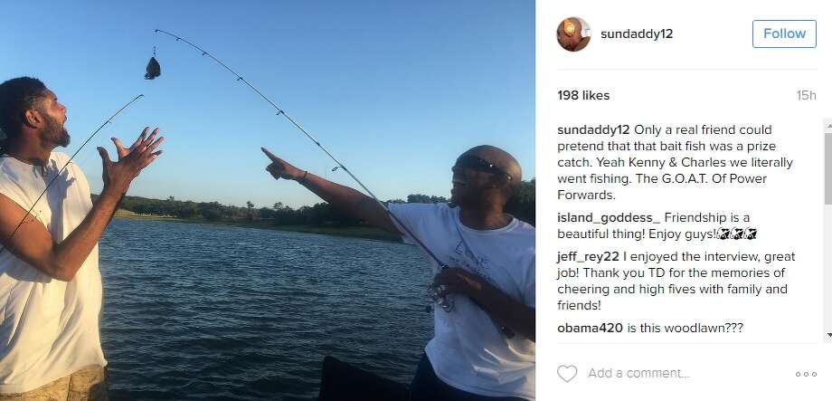 Tim duncan 39 lives it up 39 at his 39 gone fishing 39 retirement for Fishing near san antonio