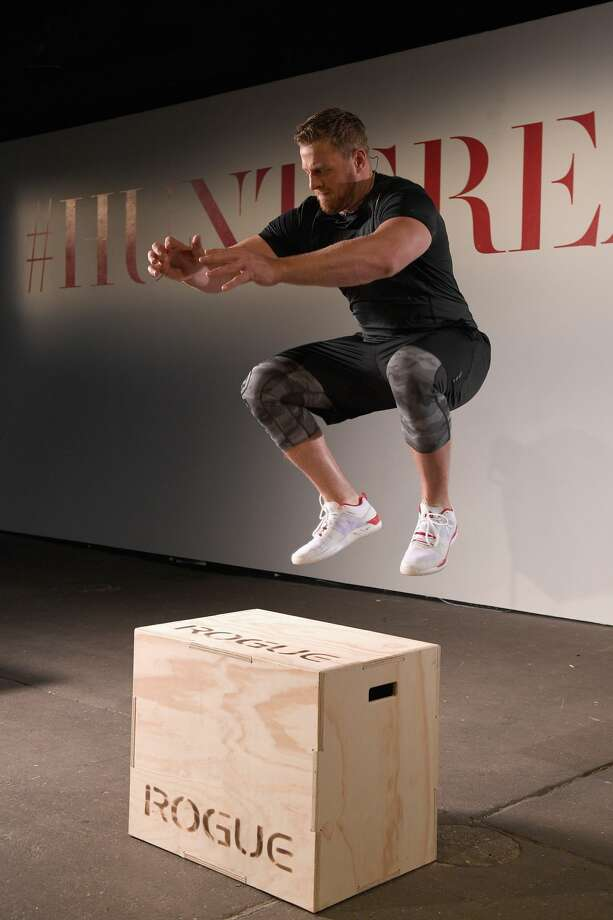 NFL player J.J. Watt trains with Reebok during the Launch of J.J. Watt's New Signature Sneaker, The Reebok JJ I at ArtBeam in New York City. Photo: Bryan Bedder/Getty Images For Reebok