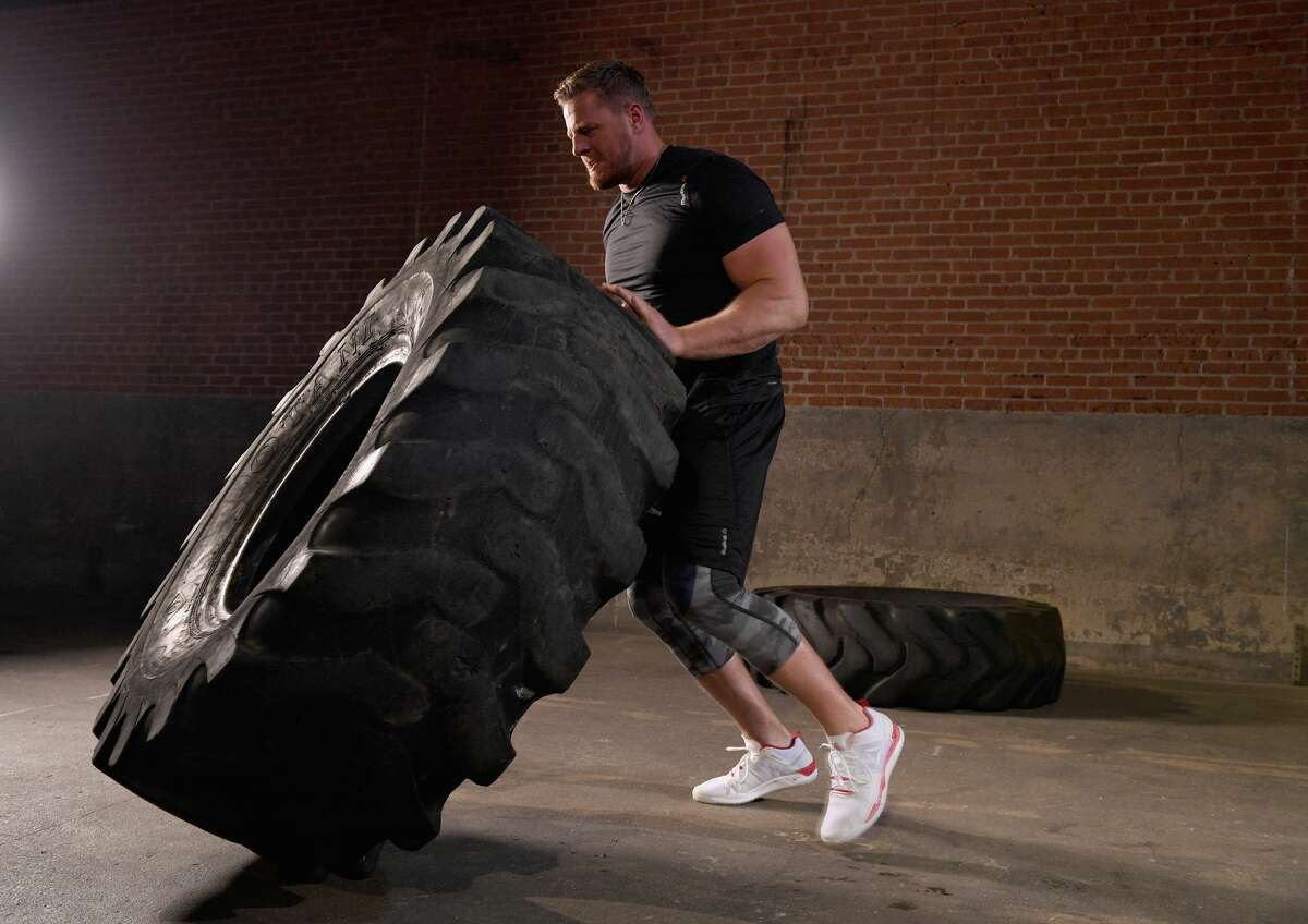 J.J. Watt, in a photo shoot for Reebok to launch his new sneaker, is expected to make a quick recovery from back surgery.