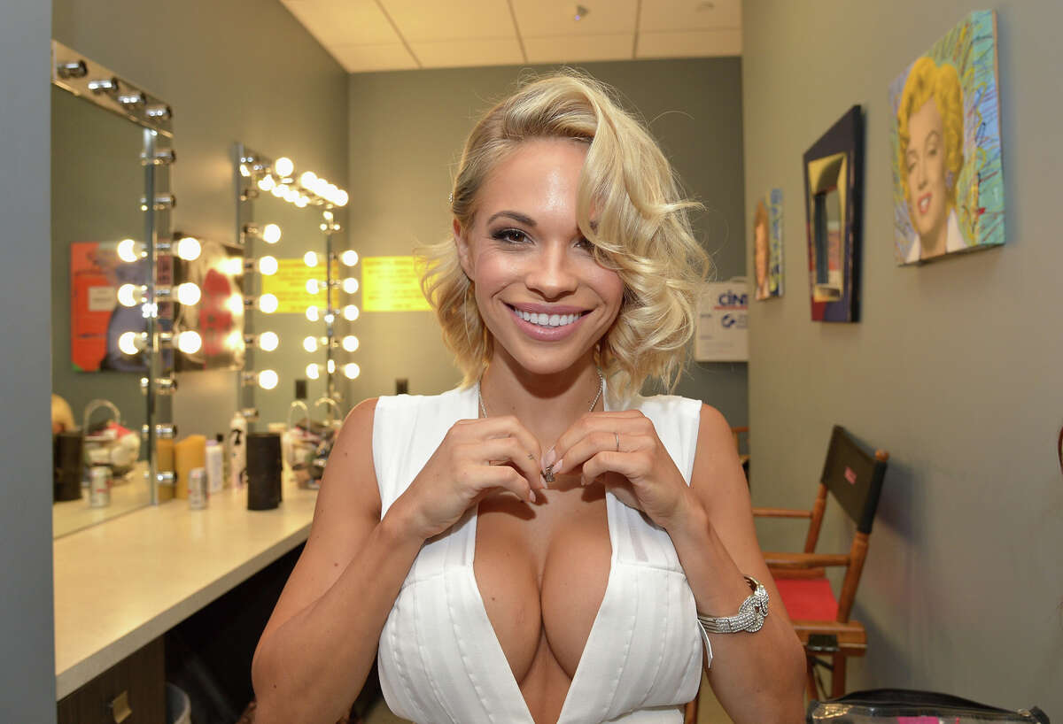 Playmate of the Year Dani Mathers gets ready for PlayboyÂ?'s 2015 Playmate of the Year Ceremony at the Playboy Mansion on May 14, 2015 in Los Angeles, California.