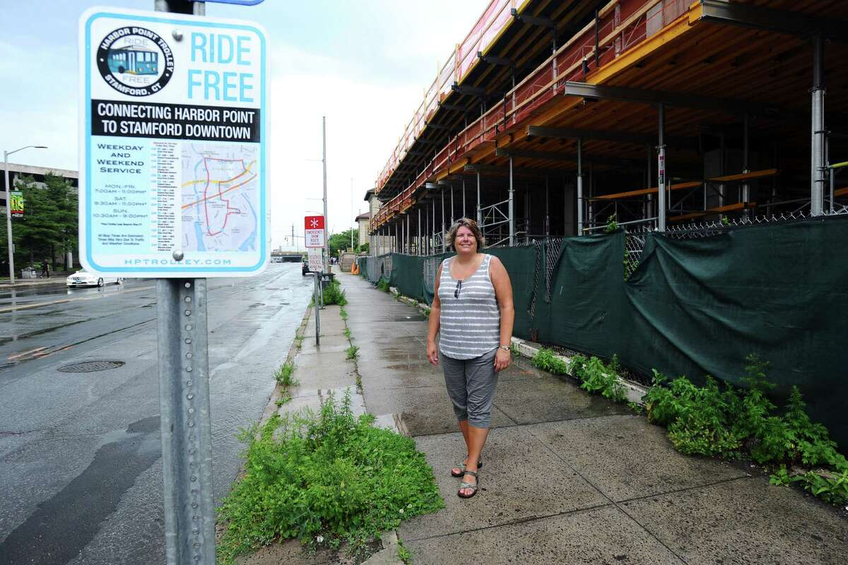 Jackie Lightfield, executive director of Stamford Partnership, poses next to weeds on Atlantic St. on Thursday, July 7, 2016. Lightfield is leading the charge to put together a plan with the city of Stamford and local propety owners to eliminate weeds and trash on embankments and sidewalks around the city.