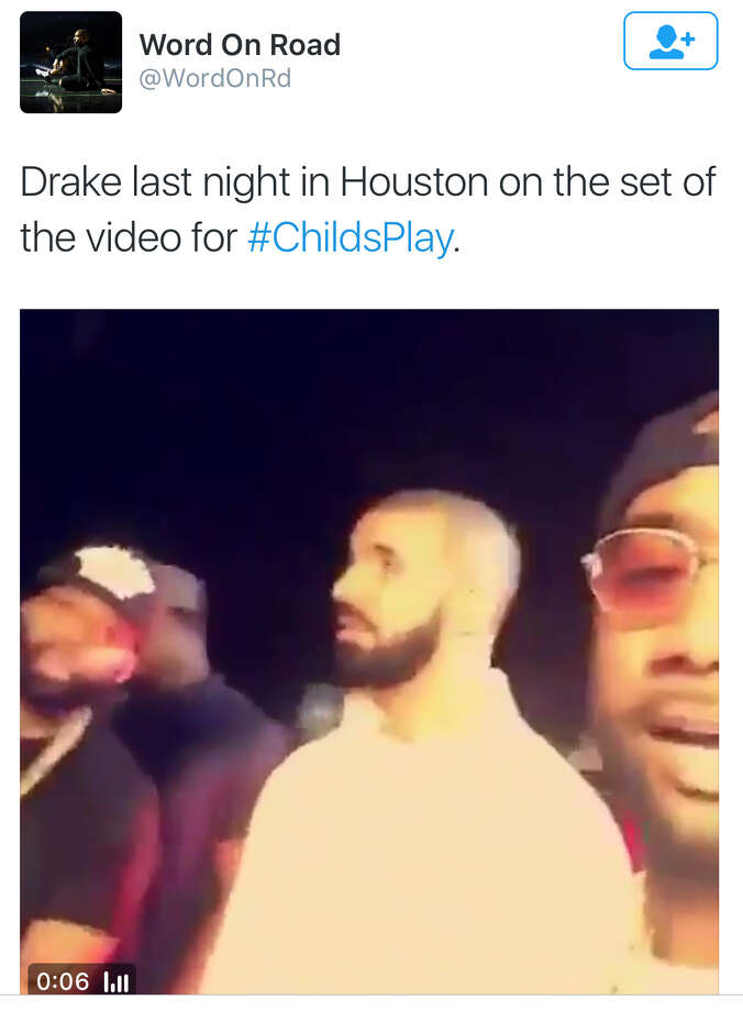 Rapper Drake was in Houston to shoot a video for Child's Play at VLive. He also visited the Cheesecake Factory. It was trending Wednesday night/Thursday morning on Twitter. Photo: Twitter Screen Grab