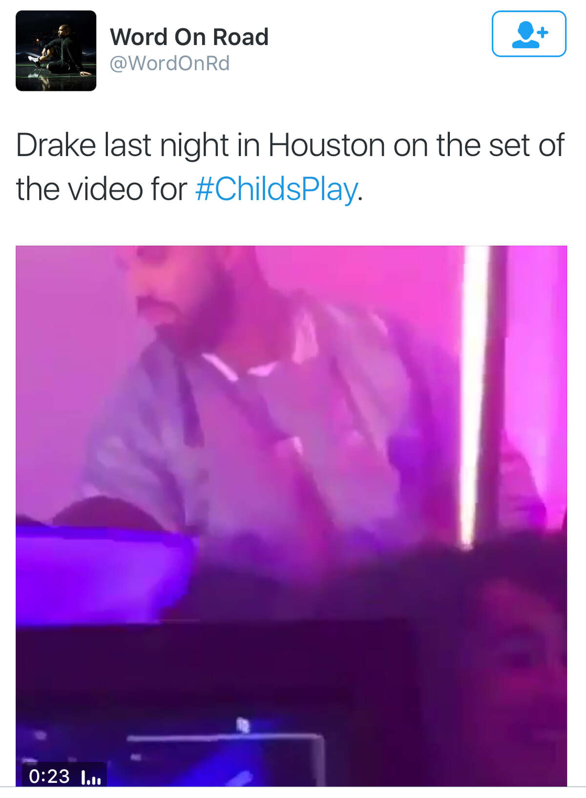 Rapper Drake was in Houston to shoot a video for Child's Play at VLive. He also visited the Cheesecake Factory. It was trending Wednesday night/Thursday morning on Twitter.