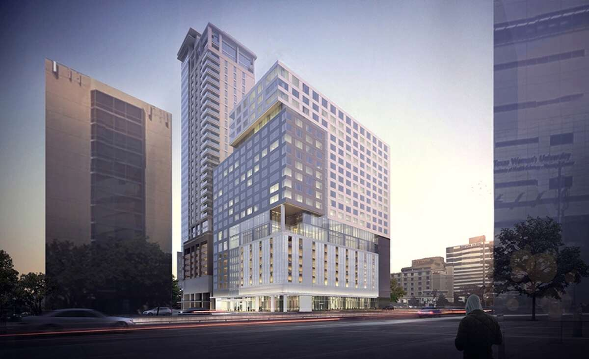 A rendering of the InterContinental hotel/luxury apartment tower planned near the Texas Medical Center (Medistar Corp.)
