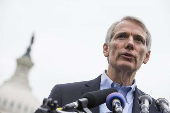 FILE � Sen. Rob Portman (R-Ohio) speaks during a news conference on the opioid crisis, on Capitol Hill in Washington, May 19, 2016. The Senate on July 13 approved a bill to tackle the nation�s opioid crisis, sending to the president�s desk the most sweeping drug legislation in years in a rare instance of consensus in Congress. �This is a historic moment, the first time in decades that Congress has passed comprehensive addiction legislation, and the first time Congress has ever supported long-term addiction recovery,� Portman said. (Zach Gibson/The New York Times)