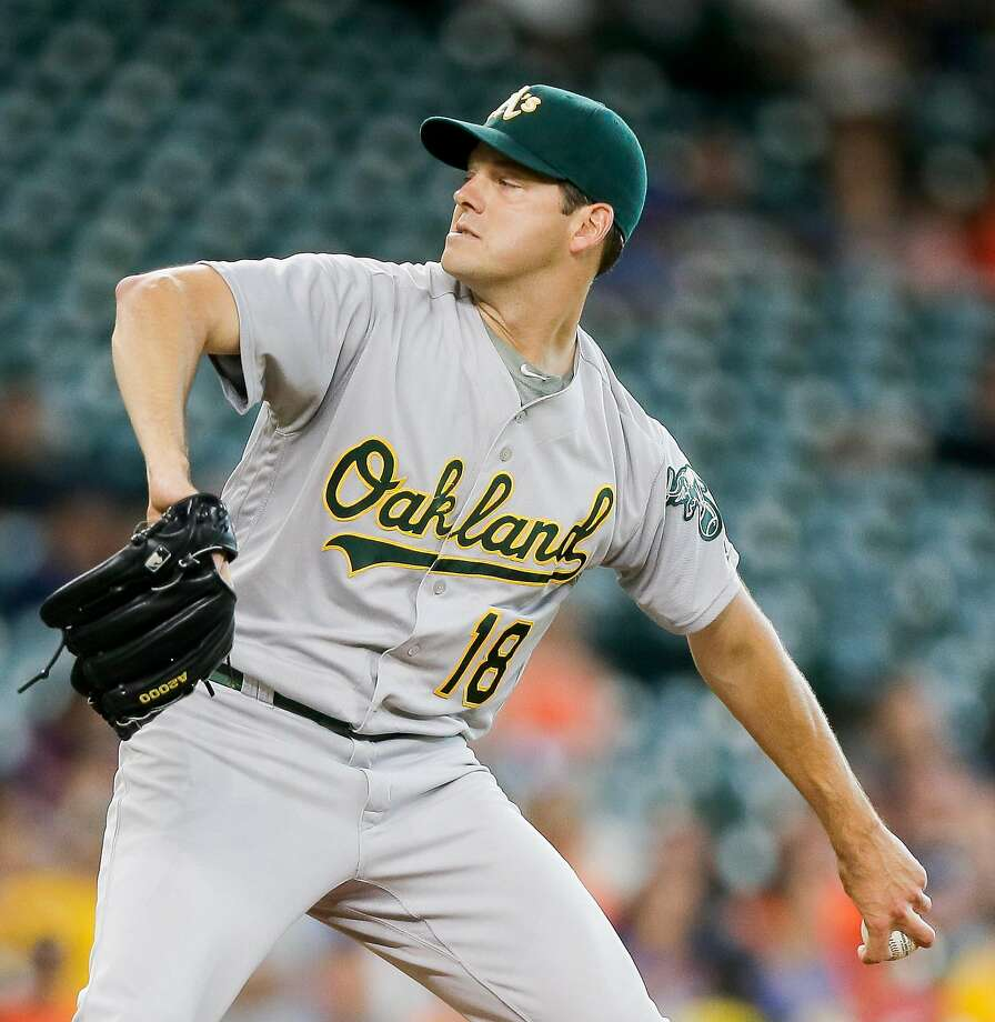 HOUSTON, TX - JULY 07:  Rich Hill #18 of the Oakland Athletics pitches in the first inning against the Houston Astros at Minute Maid Park on July 7, 2016 in Houston, Texas.  (Photo by Bob Levey/Getty Images) Photo: Bob Levey, Getty Images