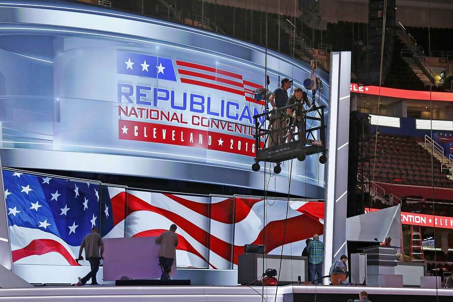 The main stage at the Quicken Loans Arena in Cleveland is being prepared for next week's GOP convention. Speakers will include at least 20 current or former elected officials. Photo: Gene J. Puskar, Associated Press