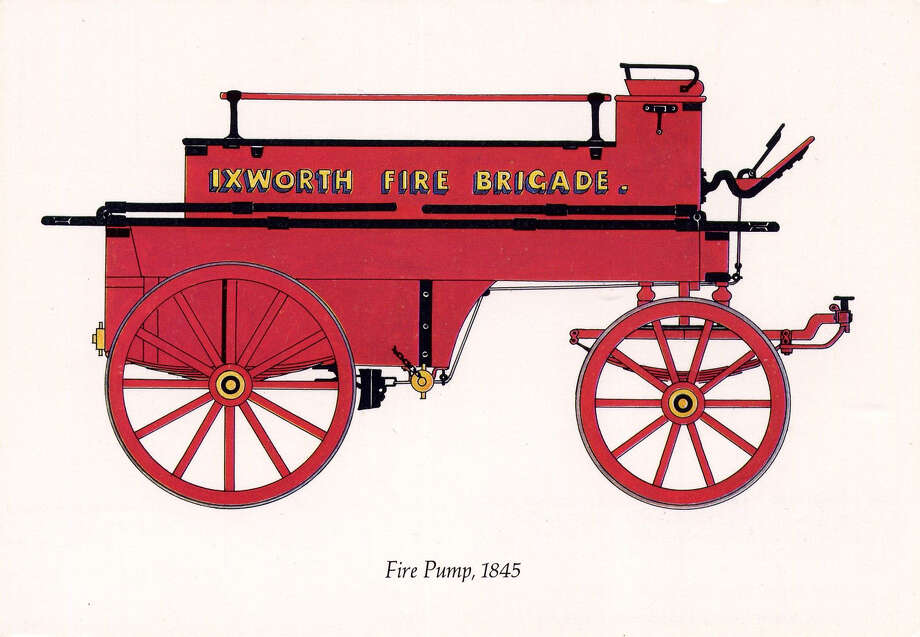 Fire vehicles from the mid-1800s looked like this rendering of a wagon with wooden wheels. In July of 1845 New Canaan bought its first such truck and formed a fire brigade. Photo: Contributed Photo / Hearst Connecticut Media / New Canaan News