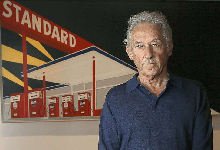 "Artist Ed Ruscha stands by ""Standard Station, Amarillo, Texas"", 1963, oil on canvas at the de Young Museum on Wednesday, July 13, 2016 in San Francisco, Calif., where his Great American West exhibit will open this Saturday."