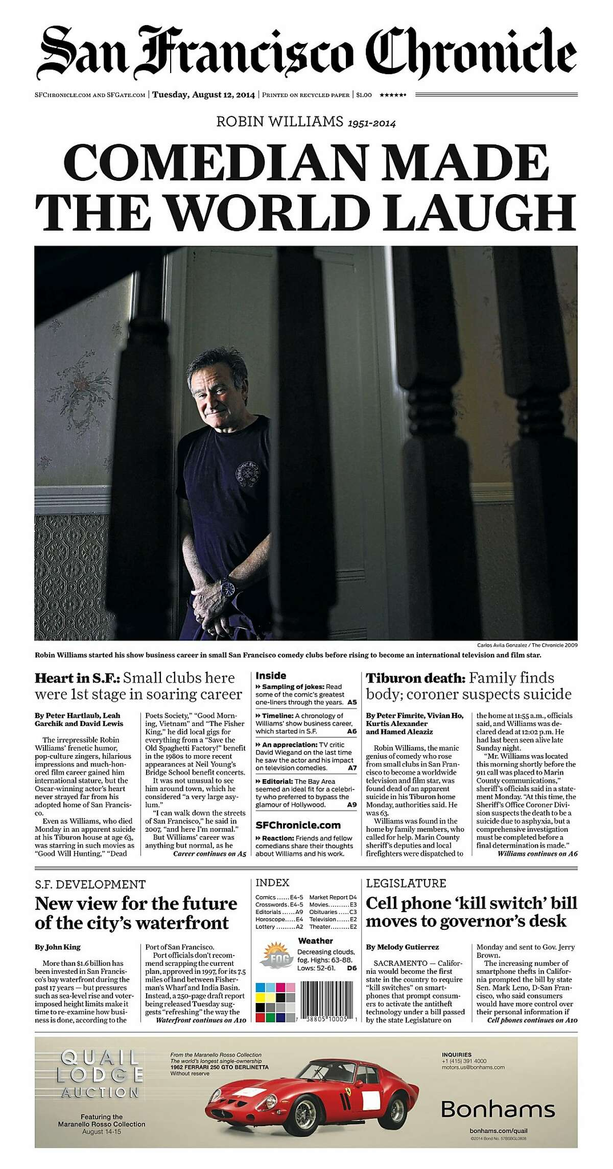 Historic Chronicle Front Page August 12, 2014 Robin Williams dies Chron365, Chroncover