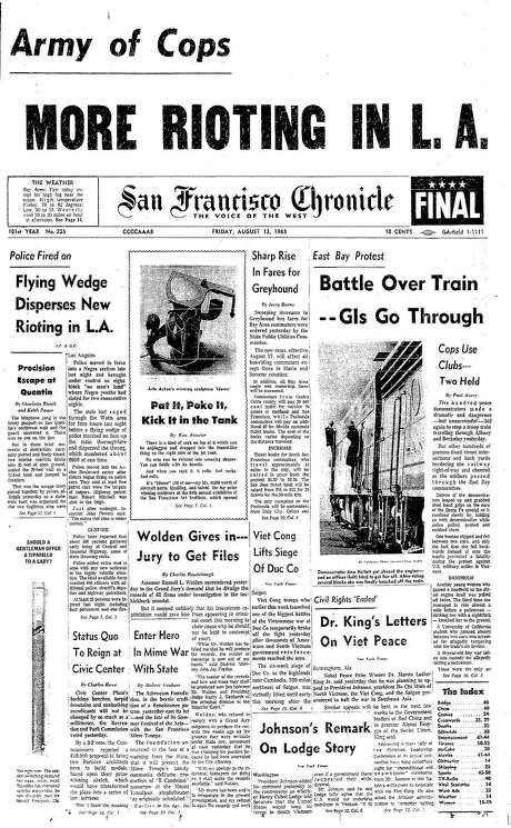 The Chronicle's front page from Aug. 13, 1965, covers the Watts riots in Los Angeles. Photo: The Chronicle 1965