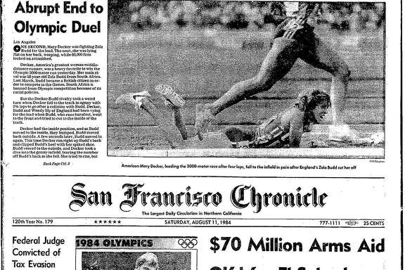 Historic Chronicle Front Page August 11, 1984  Mary Decker falls in her showdown race at the 1984 Olympics and the Unites State Men's Basketball team wins gold at the 1984 Olympics, which was boycotted by the Russians     Chron365, Chroncover