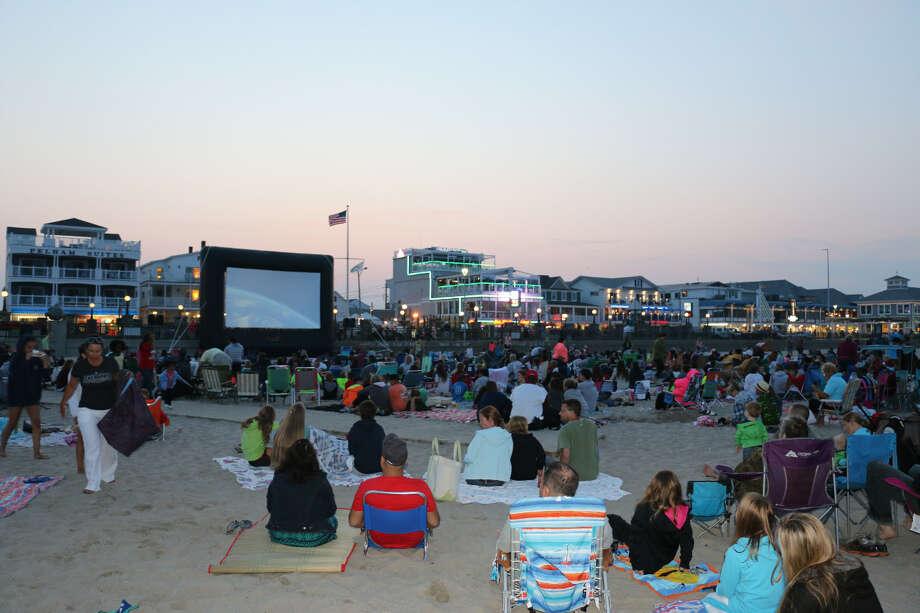 (Courtesy John Kane, Hampton Beach Village District) Hampton Beach Monday night movie nights.