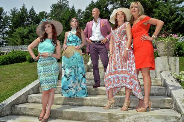 Models from left, Erin Hedderman, Kristen Swider, Robert Amore Billie Jo Newman and Mary Dessormeau at Yaddo Friday July 1, 2016 in Saratoga Springs, NY.  (John Carl D'Annibale / Times Union)