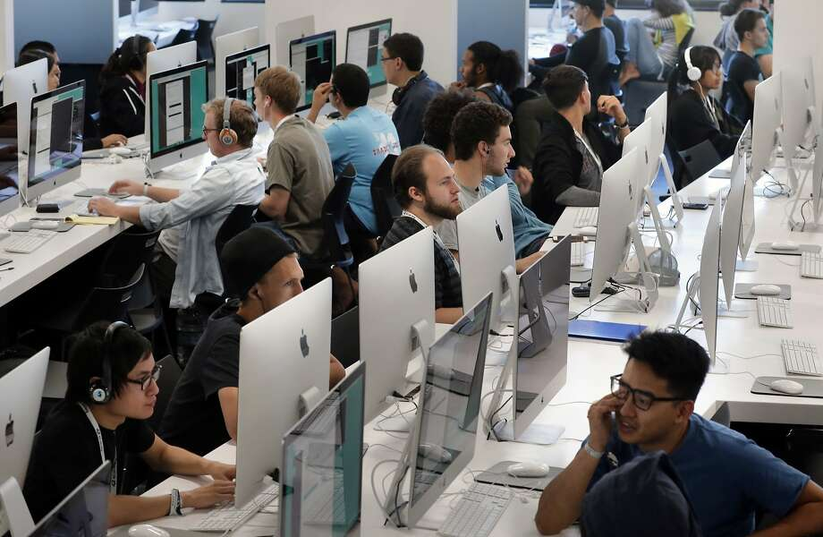 Students at work on row after row of computer stations at 42 a new free computer coding school in Fremont, California, on Thurs. July 14, 2016. Photo: Michael Macor, The Chronicle