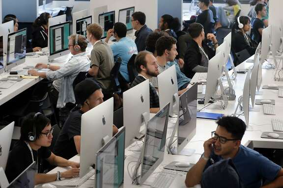 Students at work on row after row of computer stations at 42 a new free computer coding school in Fremont, California, on Thurs. July 14, 2016.