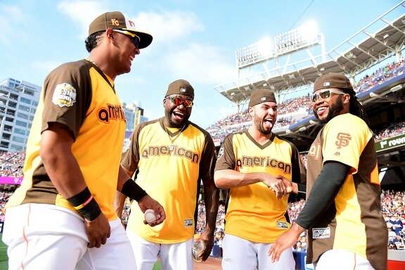 SAN DIEGO, CA - JULY 11:  (L-R) Salvador Perez #13 of the Kansas City Royals, David Ortiz #34 of the Boston Red Sox, Eric Hosmer #35 of the Kansas City Royals and Johnny Cueto #47 of the San Francisco Giants talk during the T-Mobile Home Run Derby at PETCO Park on July 11, 2016 in San Diego, California.  (Photo by Harry How/Getty Images)