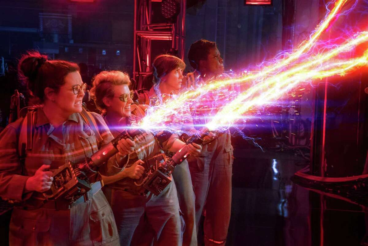 """Melissa McCarthy, from left, Kate McKinnon, Kristen Wiig and Leslie Jones star in """"Ghostbusters."""" The flick may end up a feminist milestone."""