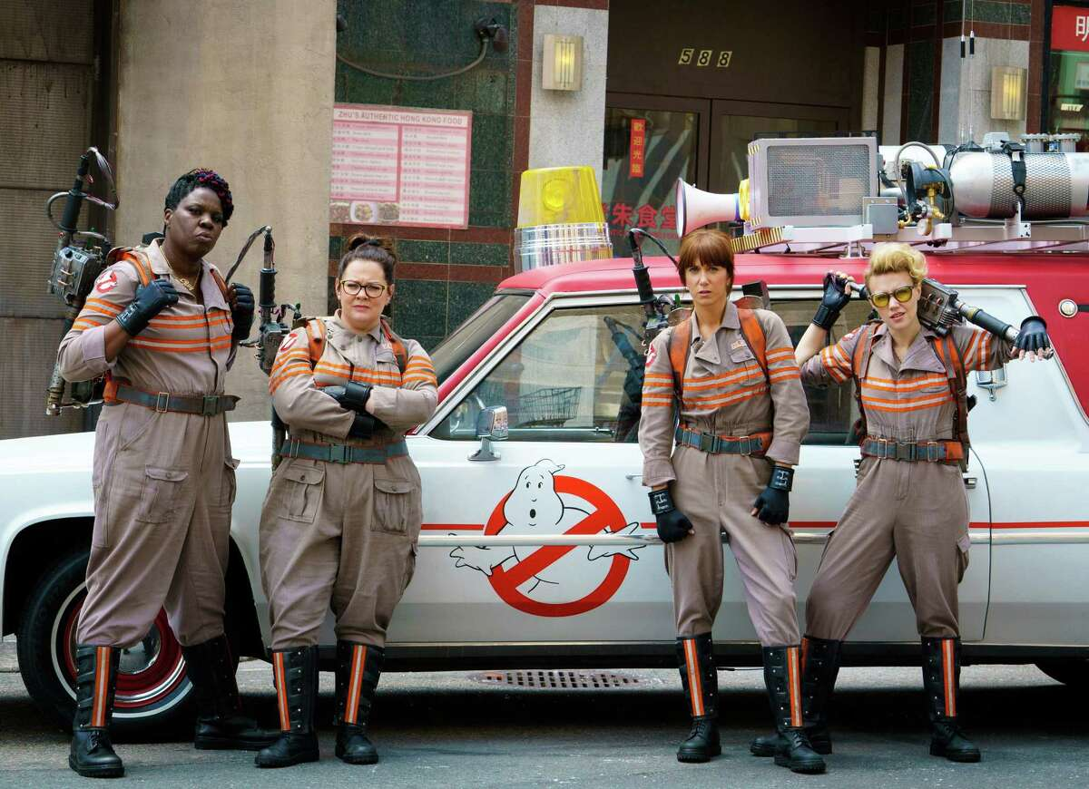 """In this image released by Sony Pictures, from left, Leslie Jones, Melissa McCarthy, Kristen Wiig and Kate McKinnon appear in a scene from the film, """"Ghostbusters,"""" opening nationwide on July 15. (Hopper Stone/Columbia Pictures, Sony via AP)"""