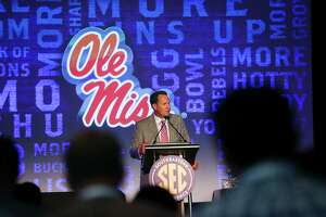 Mississippi head coach Hugh Freeze speaks to the media at the Southeastern Conference NCAA college football media days, Thursday, July 14, 2016, in Hoover, Ala. (AP Photo/Brynn Anderson)
