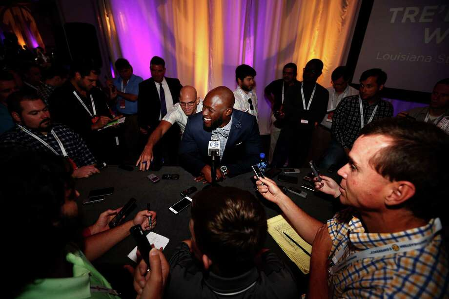 LSU running back Leonard Fournette speaks to the media at the Southeastern Conference NCAA college football media days, Thursday, July 14, 2016, in Hoover, Ala. (AP Photo/Brynn Anderson) Photo: Brynn Anderson, Associated Press / Copyright 2016 The Associated Press. All rights reserved. This material may not be published, broadcast, rewritten or redistribu